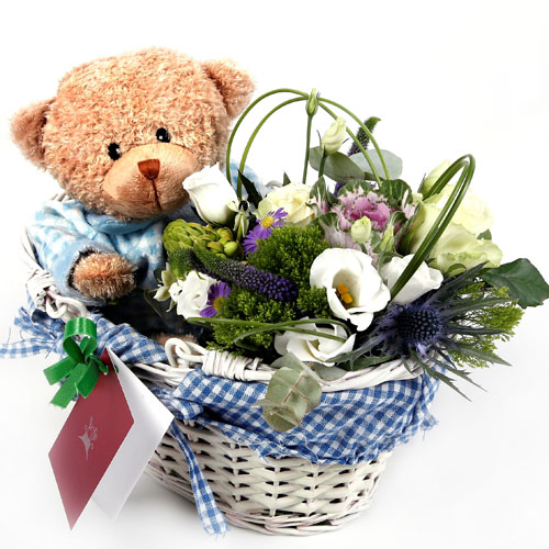 Flower Basket and Teddy - Pinay Gifts
