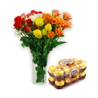 12 Mix Roses with 16 Pcs Ferrero