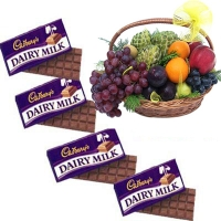 Seasonal Fruits Basket with Cadburys Chocolates