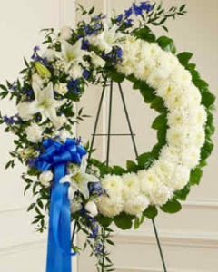 Always Remember Blue & White Floral Tribute