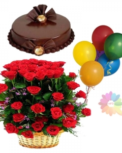 24 Red Roses Basket Cake And 5 Birthday Balloons Delivery Philippines Flower Food At Est S