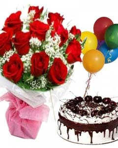 A bunch 12 red roses,5 balloons and 1 kg black forest cake