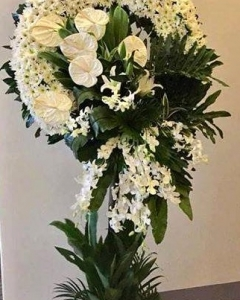 Pure White Funeral Wreath